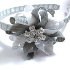 Silver, White Snowflake Hair Bow - Headband Set - Wrapped Headband - Handmade Headband Hair Bow Set - Winter Grosgrain Ribbon Hair Bow Set