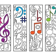 One PDF coloring page of 4 bookmarks with different music note designs! Each bookmark is 2 inches wide and 7 inches tall. Simply color the bookmarks and cut them out! Colouring Pages, Printable Coloring Pages, Coloring Sheets, Coloring Books, Notes Design, Music For Kids, Coloring Pages For Kids, Kids Coloring, Music Notes