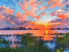 Another+Day+Ends+by+Junko+Ono+Rothwell Pastel Landscape, Landscape Artwork, Abstract Landscape, Acrylic Sky Painting, Painting Wallpaper, Seascape Paintings, Canvas Art, Watercolor, Nature