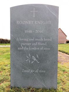 Headstones for graves: bespoke slate headstone with cross and carving of a bird. Lettering carved by hand with a light wash of paint. Grave Headstones, Headstones For Graves, Setting Up A Charity, Memorial Cards, Memorial Ideas, Cemetery Monuments, Beautiful Lettering, Memorial Stones, Stone Carving