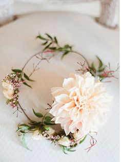 woodland wedding floral halo- wondering if I could diy lace headpiece with flowers...
