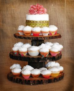 Such a sweet rustic idea. 3 Tier Cupcake Stand, Cupcake Tower Wedding, Wedding Cupcakes, Wood Cake, Sustainable Wedding, Baby Shower Brunch, Dessert Stand, Small Intimate Wedding, Favorite Recipes