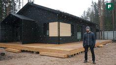 Черный дом с террасой по скандинавской каркасной технологии //FORUMHOUSE