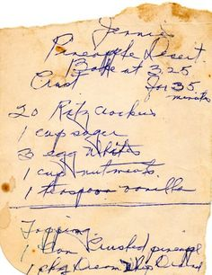 Scan of an old family recipe for use in a family cookbook.  Genealogy research, food history and heirloom project all in one!