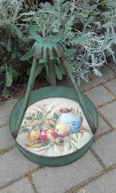 Metallic serving tray , chalk paints, patina