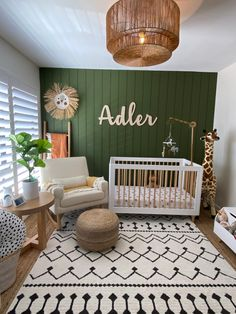 We love the lighting and the rug, too! Safari Theme Nursery, Nursery Decor Boy, Boho Nursery, Nursery Neutral, Nursery Themes, Nursery Room, Girl Nursery, Nursery Ideas, Babies Nursery