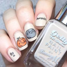 Pusheen Halloween Pumpkin Nail Art