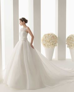 Wishesbridal Cute Chapel Train Organza Tank Top #BallGown Hall Illusion Back Design Floral #WeddingDress Aro0061