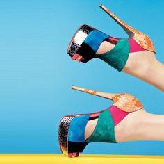 Shoespie Colorful Cut-outs Peep-toe Platform Heels