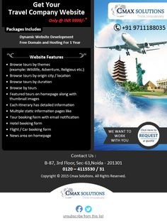 CmaxSolutions provides travel website development and dynamic travel website designing services in India at reasonable prices. For more queries visit our website.