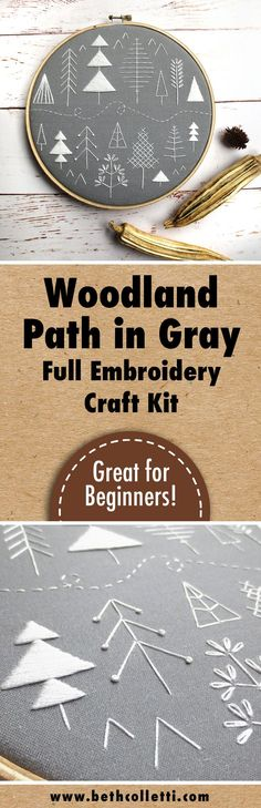 Learn hand embroidery with this woodland stitch sampler embroidery kit! Great for a beginner and available in gray or forest green.