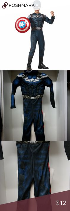 Captain America Super Hero Kids Halloween Costume Okay used condition.  Has some snags on the back and a small bleach stain on the back too.   Comes with 2 Captain America Masks and the suit. The shield is not included.  Padded for muscles.  The winter soldier. halloween Costumes Halloween