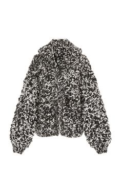 Mittens Daisy Hooded Wool Bomber In Black/white I Love Mr Mittens, Fur Coat, Women Wear, Bomber Jacket, Beanie, Black And White, Knitting, Fashion Design, Clothes