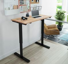 Outfit your office with the Bestar Electric Height Adjustable Desk with Solid Wood Top for a versatile workstation that suits your every whim. Adjustable Height Table, Adjustable Desk, Office Furniture, Modern Furniture, Table Élévatrice, Small Office Design, New Interior Design, Work Surface, Furniture For Small Spaces