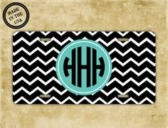 Monogram car tag Etsy listing at http://www.etsy.com/listing/164563474/monogrammed-gift-license-plate-black-and