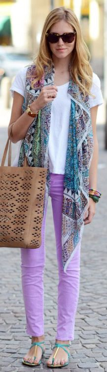 Liven up your wardrobe with a #patternedscarf and #pasteldenim