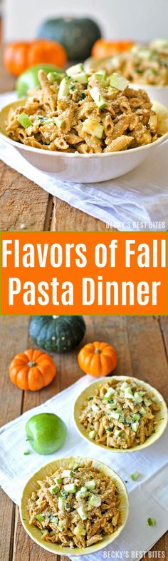 Flavors of Fall Pasta Dinner combines the favorites: pumpkin, apple, cinnamon, nutmeg and lean ground beef in a healthy, savory pasta dish recipe that screams fall!  beckysbestbites.com
