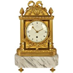 French Empire Mantel Clock Signed 'Galle' | From a unique collection of antique and modern clocks at http://www.1stdibs.com/furniture/more-furniture-collectibles/clocks/
