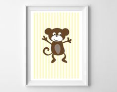 Nursery Animaux - Singe - Format A4 : Affiches, illustrations, posters par rgb