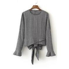 New Plaid Bow Back Ruffle Cuffs Round Neck Long Sleeve Blouse Top (384.430 IDR) ❤ liked on Polyvore featuring tops, blouses, bow top, plaid blouse, tartan top, bow back top and long sleeve blouse