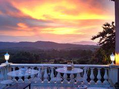 Sunset at Villa Tropez Natural Stone Flooring, Open Plan Living, Oak Tree, Natural Stones, Villa, Sunset, Beach, Nature, Design
