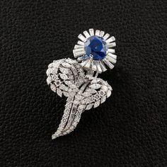 Sapphire & Diamond Cartier Flower Brooch