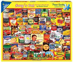 """WHITE MOUNTAIN PUZZLES, Soups On! 24"""" x 30"""" 1000-piece jigsaw puzzle. (Product#: WMP-1125) #Food #HealthyChoice #RamenNoodle #CupNoodles #Campbells #Chunky #ChickenNoodle #Tomato #FrenchOnion #Lipton #Broth #Hobby"""