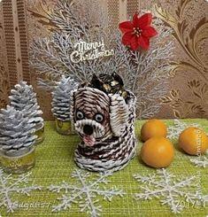 Доброй ночи жители Страны Мастеров! Покажу мои Новогодние поделочки. Собачка в домике. Пробовала разные варианты украшения. Домик плела по МК https://www.youtube.com/watch?v=EmllZpvYAMs фото 15