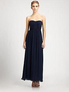 BCBGMAXAZRIA Silk Cascade Gown