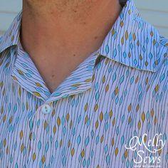 Men's Button Up Shirt by Melly Sews - Novella Rayon Rain Aqua by Free Spirit