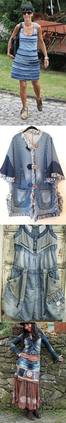 Diy Clothes Jeans Fashion 15 Ideas For 2019 Diy Clothes Jeans, Sewing Clothes, Moda Jeans, Jeans Refashion, Boho Vintage, Diy Kleidung, Denim Ideas, Denim Crafts, Recycled Denim