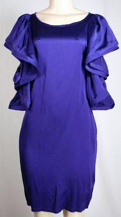 LANVIN HEARTS H Silk Ruffle Dress Sz 8 M Cobalt Blue w Tags Sold Out GLAM !!