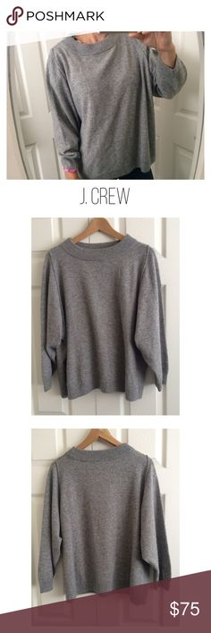 J. Crew Wool Blend Knit Sweater Casual grey Crewneck knit sweater with a loose fit and 7/8 sleeve length.40% Wool 35% Nylon 25% Viscose. Ribbed at neckline, hem and cuffs. Batwing sleeves. Moderate pulling. Great preowned condition. There are no imperfections besides the pilling. J. Crew Sweaters Crew & Scoop Necks
