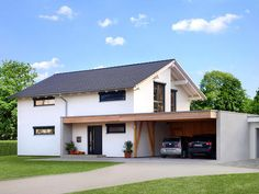 Fertighaus: Modelle, Anbieter, Preise Far-sighted: Open plan, makes subsequent conversion easy: For House Roof, Facade House, Carport Garage, Carport Designs, Prefabricated Houses, Minimalist Architecture, Residential Architecture, Design Case, Home Fashion