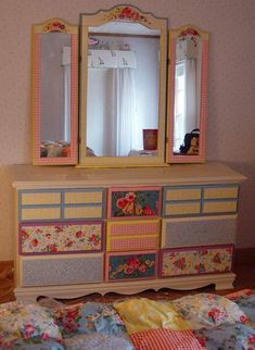 patchwork painted dresser