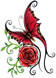 Latest Red Rose And Curly Butterfly Tattoo Design