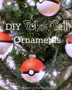 DIY Poke Ball Christmas Ornament, quick and easy craft.