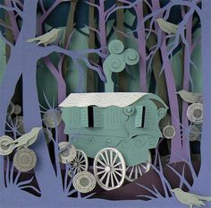 Hand cut paper scenes, sculptures and collages, lovely artworks from Helen Musselwhite