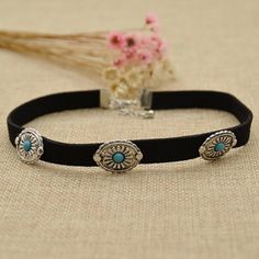 Amazon.com: Black PU Leather Choker Necklace Turquoise Inlaid Adjustable Collar…