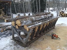 Firewood cutting rack