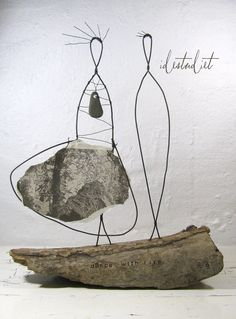 Dance with Life Driftwood and Wire Sculpture Mixed Media Art