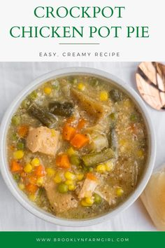 Just throw all the ingredients in your slow cooker and dinner is ready! Serve with soup biscuits or dinner rolls! Easy Meat Recipes, Best Chicken Recipes, Delicious Dinner Recipes, Slow Cooker Recipes, Crockpot Recipes, Vegetable Pot Pies, Dinner Dishes, Dinner Rolls, Slow Cooker Chicken