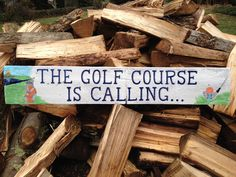 Custom hand painted golf scene on driftwood, Golf, home decor, Mother's Day gift, Father's day gift.