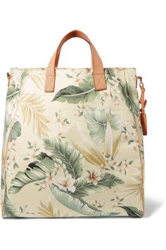 Multicolored cotton-canvas, tan leather Open top Comes with dust bag Imported Tropical, Ancient Greek Sandals, Palm Print, Handbag Accessories, Tan Leather, Green And Grey, Cotton Canvas, Vintage Fashion, Canvas Prints