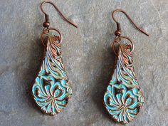 Beautiful Hibiscus polymer clay earrings