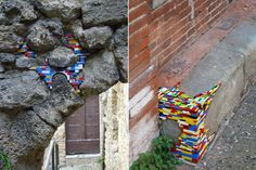 In his ongoing project, Dispatchwork, artist Jan Vormann uses Legos to repair damaged walls. I love this.