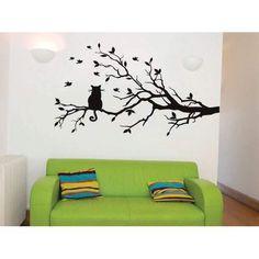 Birds & Cat Tree Wall Sticker Boys Wall Stickers, Bird Wall Decals, Wall Stickers Quotes, Tree Decals, Wall Art Quotes, Family Tree Wall, Hand Painted Walls, Bed Wall, Cat Tree