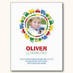 Boys Toys Children Photo Birthday Party Invitation Post Cards