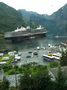 Cunard's cruise ship, the Queen Elizabeth in port of Geiranger. Norway.