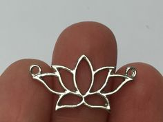 5 Lotus Flower Connector Charms Silver Tone - SC2019 by charmedbeader on Etsy https://www.etsy.com/uk/listing/478672970/5-lotus-flower-connector-charms-silver
